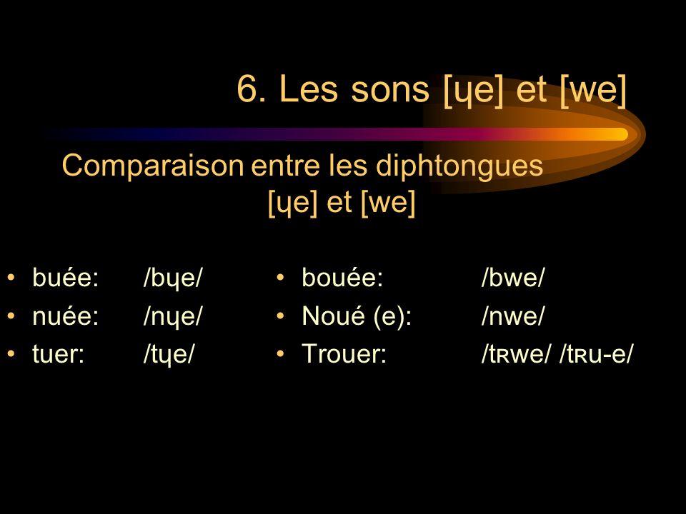 6. Les sons [ɥe] et [we] Comparaison entre les diphtongues